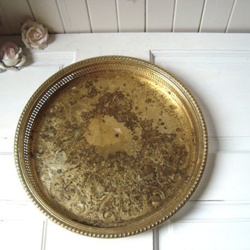 Vintage Gold Toned Brass Metal Round Serving Tray, Rustic Shabby Chic Decorative Metal Tray, Wedding Decor, Farmhouse Tray, Gift Ideas