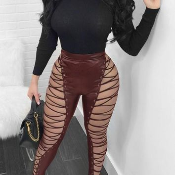 Burgundy Cut Out Lace-up Faux Leather High Waisted Clubwear Long Pants