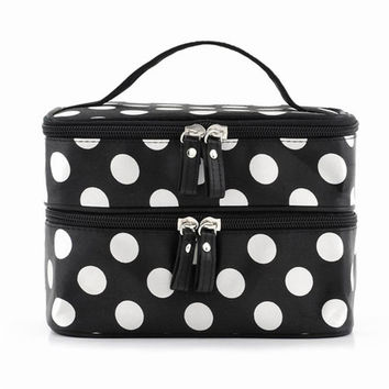 Travel Polka-Dot Cosmetic Bag  11cm high,12cm long,18cm wide