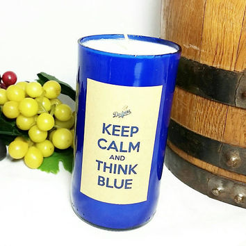 Recycled Beer Bottle Scented Soy Wax Candle/Dodgers Bottle Candle/Cobalt Glass Bottle/Keep Calm and Think Blue/Sacred Sandalwood Scent
