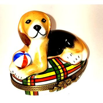 Beagle Dog 1 of 750 First One Painted - Retired Rare Limoges Box