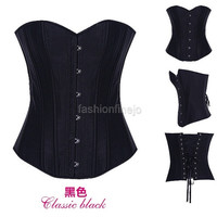 Womens Vintage Sexy Brocade Busk Boned Lace up Corset Top Bustier Lingerie S-5L 4520162 = 1904488068