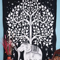 Hippie Tapestry, Hippy Mandala Bohemian Tapestries, Indian Dorm Decor, Psychedelic Tapestry Wall Hanging Ethnic Decorative (White)