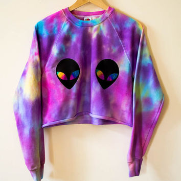 Alien Galaxy Tie Dye Crop Jumper Sweater Grunge 90's Hipster Festival Acid Tumblr Purple + Pink + Blue + Yellow Small / Medium