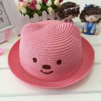 ESB1ON 1 Pcs 2016 Lovely Cartoon New Bear Children Sun Hats Spring Summer Fashion Flanging Beach Straw Hats 51-52cm 10Colors