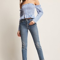 Smocked Stripe Off-the-Shoulder Top