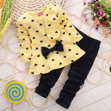 2016 Fashion Spring Girl Clothes Cotton Children Clothing Baby Girl Heart-shaped Bow 2PCS Sets Girls Top + Pants Toddler Outfits