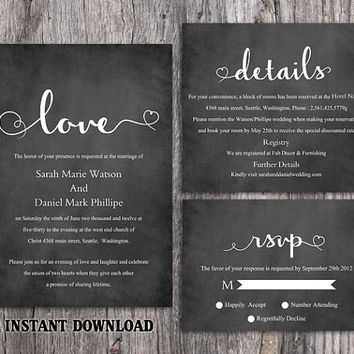 DIY Wedding Invitation Template Set Editable Word File Download Printable Chalkboard Wedding Invitation Black & White Heart Invitation