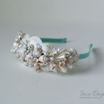 Seashell headband. Beach headband. Headpiece for beach party.