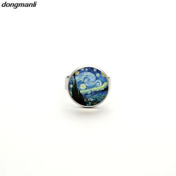 2017 New Glass Dome Rings The Starry Night by Vincent Van Gogh 1889 Handmade Keepsake Ring Art Painting Adjustable Ring