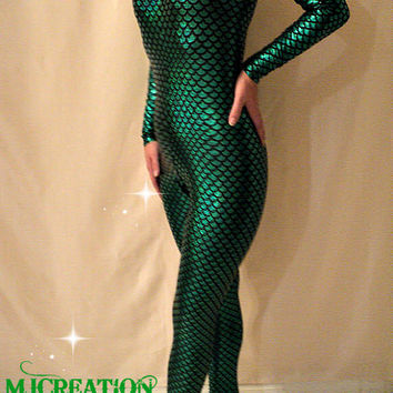 mermaid costume footed catsuit Leotard Unitard made to order custom mjcreation