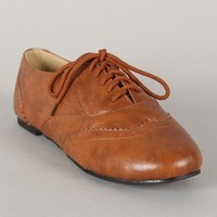 Oxy-1 Round Toe Lace Up Oxford Flat