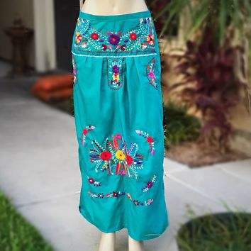 Mexican Embroidered Maxi Skirt Teal