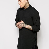 ASOS Longline Shirt In Rayon With Mini Button Down