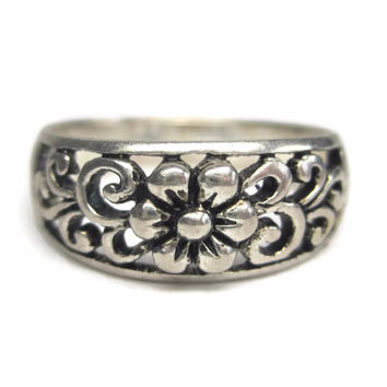 Vintage Sterling Filigree Flower Ring Size 7