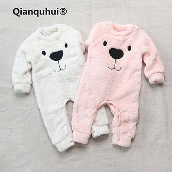 Qianquhui 2017 Autumn Baby Boy Girl Clothes Long Sleeve Cashmere Bear Cartoon Baby Rompers Jumpsuit Costumes Newborn For 0-24M