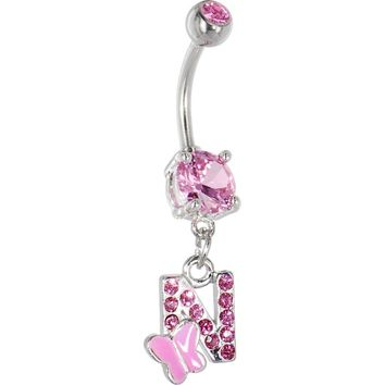 """Pink Gem Butterfly INITIAL Dangle Belly Ring - LETTER """"N"""""""