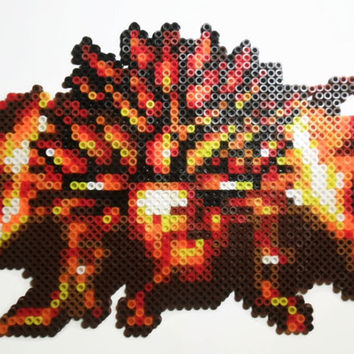 """Bead Sprite """"Day of Lavos"""" from Chrono Trigger for the SNES, perler bead pixel art"""