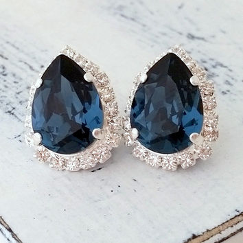 Navy Blue Crystal Swarovski stud earrings, Tear drop earrings, Bridal earrings, Bridesmaids earrings, deep blue Studs, Silver or Gold