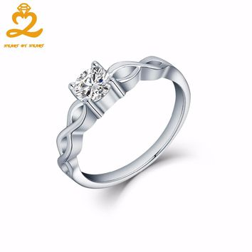 Heart By Heart Infinity White Gold Rings for Women Men 925 Sterling Solid Silver Jewelry Natural Stone Romantic Wedding Rings