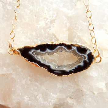 Black Geode Slice Necklace 14K Gold Druzy Freeform Crystal Pendant- Free Shipping OOAK Jewelry