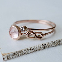 Rose Quartz Moissanite Infinity Ring Set in 14k Gold