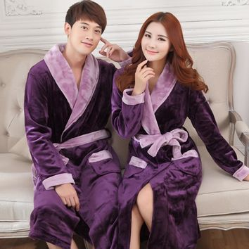 Autumn winter thick flannel robe men coral fleece bathrobe male plus size sleepwear long-sleeve couples