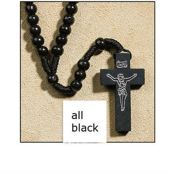 franciscan rosary beads with wooden cross - black Case of 600