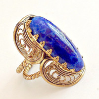Czech Glass Blue Lapis Ring Vintage Filigree Adjustable
