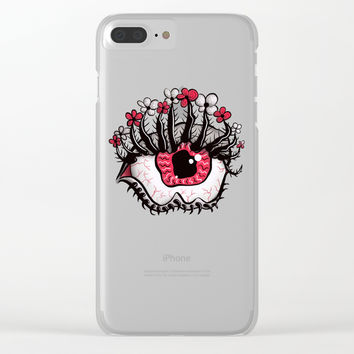 Eye Melt - Weird Red Eye With Flower Eyelashes Clear iPhone Case by borianagiormova