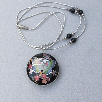 Liquid Sterling Silver & Guilloche Enamel BUTTERFLY Pendant 1970's Vintage Necklace