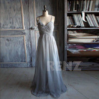 Bridesmaid chiffon Dress/sleeveless  handmade gray dress/floor length/ Prom/ party dress ( B085)