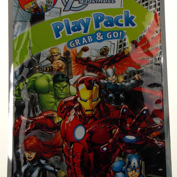 Lot of 14 Marvel Avengers Assemble Play Packs Grab & Go Coloring Book Crayons