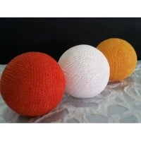 I Love Handicraft Orange Yellow Gold and White Color Set Cotton Ball String Lights Patio Wedding and Party Decoration (20 Balls/set)