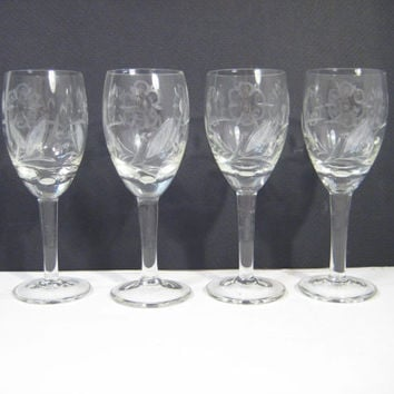 Mid Century Etched Glass Cordials Needle Etched Stemmed Glassware Barware