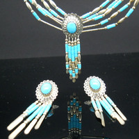 Sterling Silver Native American Necklace Earrings Set Liquid Silver Turquoise 5 Strand 925 21 Inch