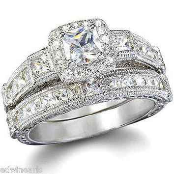 TOP QUALITY 2.25ct Antique Estate Style Wedding Engagement Ring Set