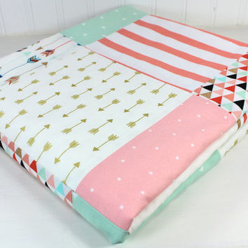 Baby Girl Blanket, Minky Blanket, Coral Crib Bedding, Decor, Coral Pink, Blush Pink, Mint Green, Black, Gold, Aztec Nursery, Tribal Nursery