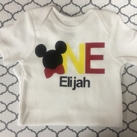 Mickey Mouse personalized first birthday Top
