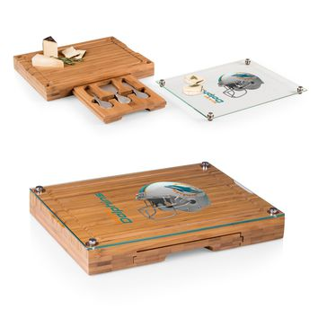 Miami Dolphins 'Concerto' Glass Top Cheese Board & Tools Set-Bamboo Digital Print