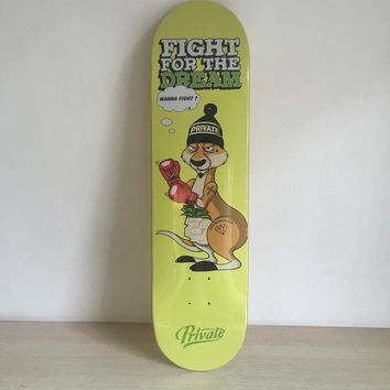 "Fight For The Dream 8""Canadian Maple Yellow Skateboard Deck"