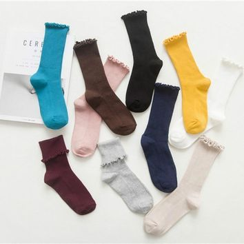 New arrival Harajuku Retro Cute Cotton Women Lady Loose flanging lace Socks  Autumn Winter In Tube Korean Japanese   Pure Color