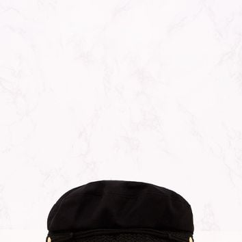 Black Flat Top Baker Boy Hat