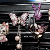 Crystal Car Interior Decals for Women Vent Clip, Angel Car Lover Gift, Butterfly Car hood ornament