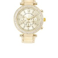 Enamel Link Rhinestone Watch by Charlotte Russe - Gold