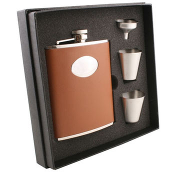 Visol Bobcat Brown Leather Deluxe Hip Flask Gift Set - 6 oz