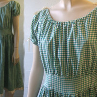 1940s 50s Vintage Gingham Dress / Haute Couture / Rockabilly / Swing Skirt / Side Snaps