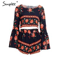 Simplee Apparel Boho print beach elegant jumpsuit romper Summer style backless sexy playsuit Women two piece short overalls