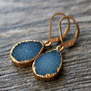 Bright Cobalt Blue Druzy Drop Earrings, Periwrinkle Blue Dangle, Gold Electroplated, Large Teardrops, Natural Druzy, Blue Druzy Jewelry