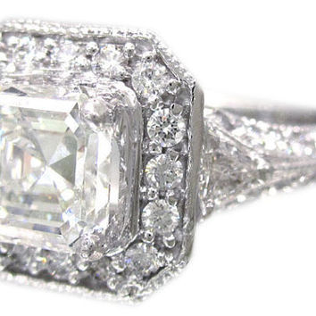 14k white gold asscher cut diamond engagement ring art by KNRINC